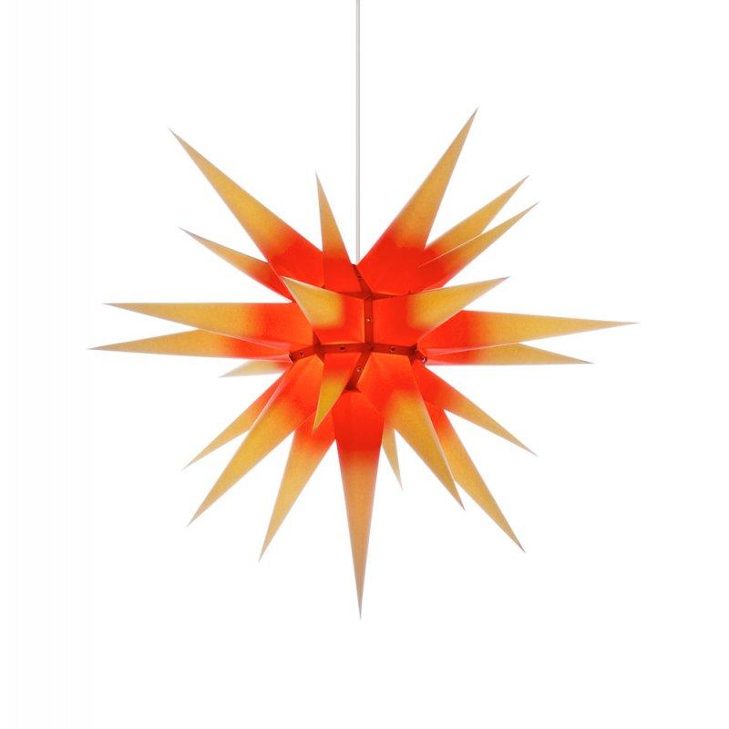 herrnhuter weihnachtsstern i7 gelb roter kern mit beleuchtung erzgebirgische volkskunst. Black Bedroom Furniture Sets. Home Design Ideas