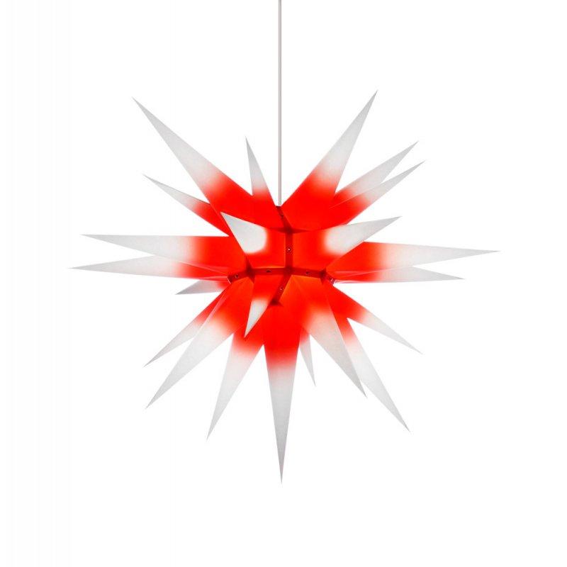 herrnhuter weihnachtsstern i7 wei roter kern mit beleuchtung erzgebirgische volkskunst. Black Bedroom Furniture Sets. Home Design Ideas