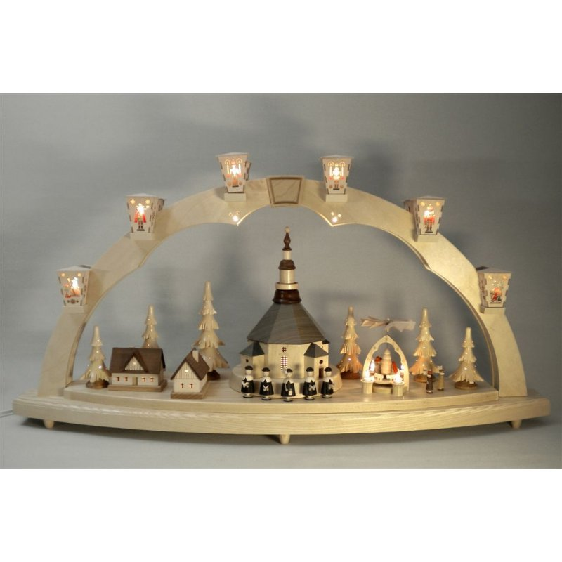 richard gl sser schwibbogen seiffener kirche mit pyramide erzgebirgische volkskunst. Black Bedroom Furniture Sets. Home Design Ideas