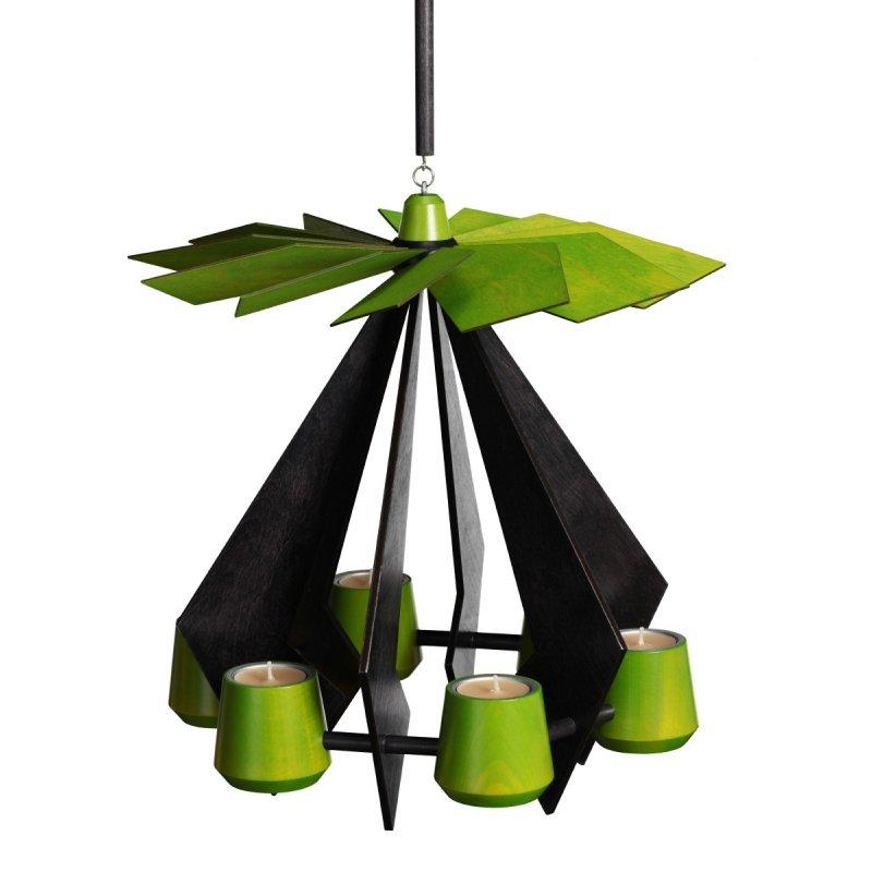 schalling h ngepyramide pino anthrazit lindgr n erzgebirgische volkskunst holzspielwaren. Black Bedroom Furniture Sets. Home Design Ideas