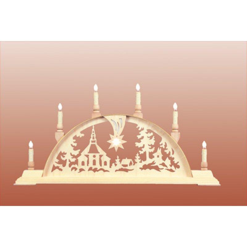 seidel schwibbogen seiffener kirche mit licht erzgebirgische volkskunst holzspielwaren. Black Bedroom Furniture Sets. Home Design Ideas