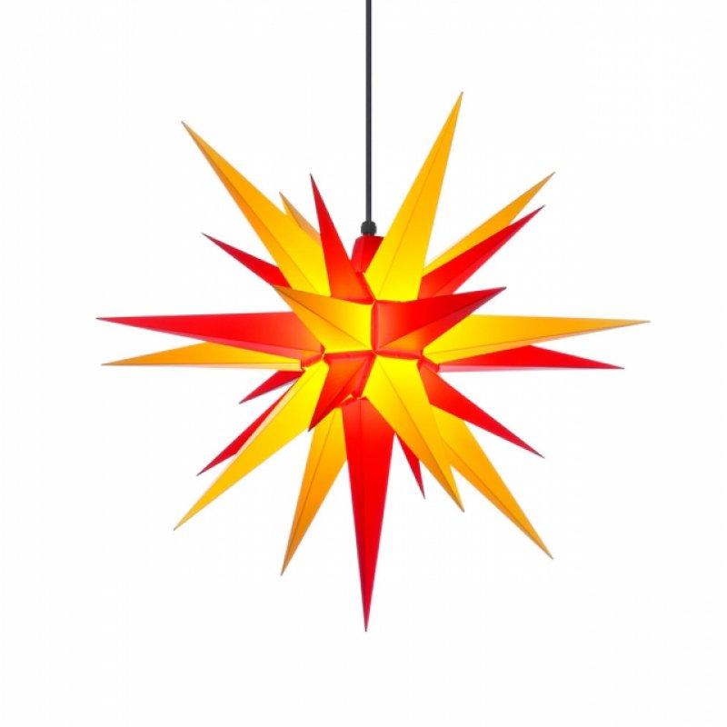 herrnhuter weihnachtsstern a7 gelb rot aus kunststoff mit beleuchtung erzgebirgische. Black Bedroom Furniture Sets. Home Design Ideas