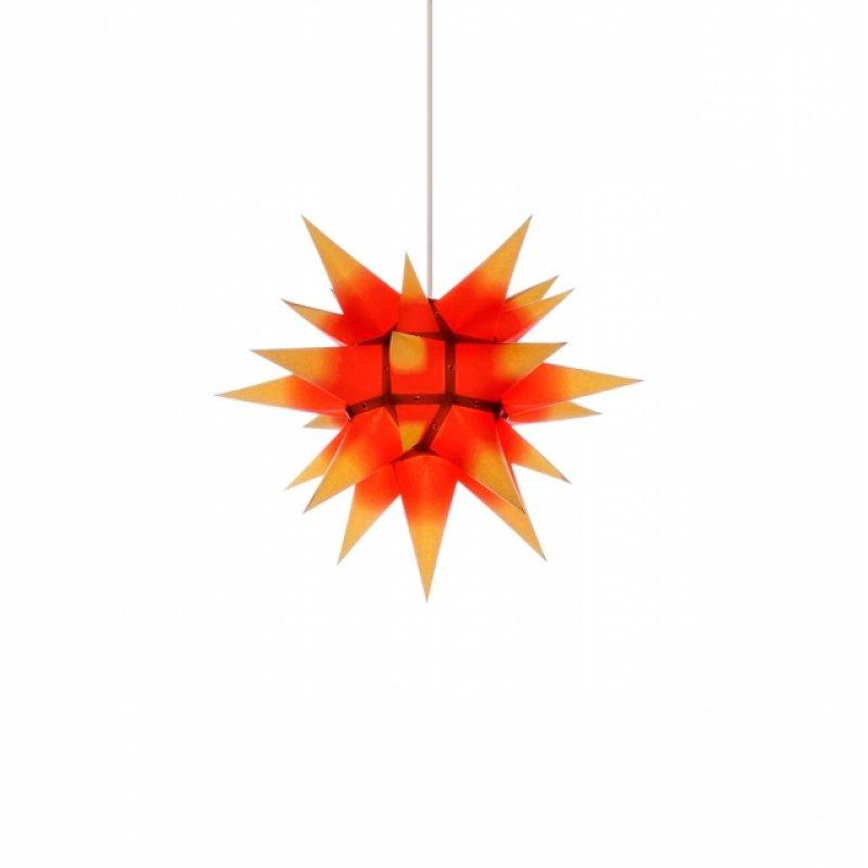 herrnhuter weihnachtsstern i4 gelb mit rotem kern mit beleuchtung erzgebirgische volkskunst. Black Bedroom Furniture Sets. Home Design Ideas