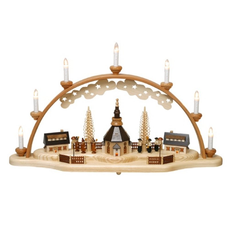 zeidler schwibbogen seiffener kirche mit laternenkindern erzgebirgische volkskunst das original. Black Bedroom Furniture Sets. Home Design Ideas